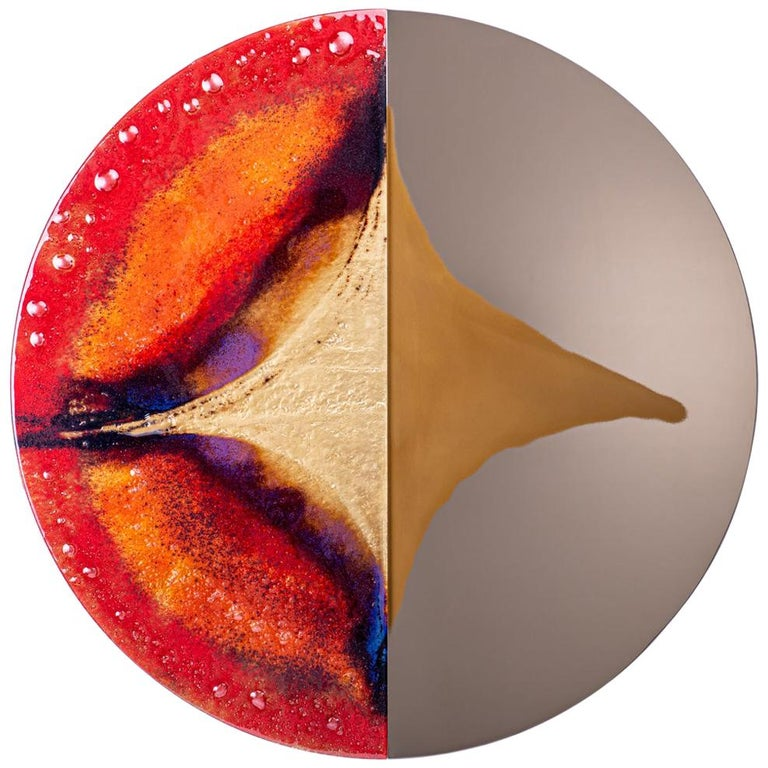 Modern Round Mirror Four Seasons Autumn with Murano Kind Glass For Sale