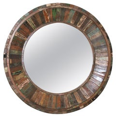 Modern Round Mirror Made from Handpicked Recycled Vintage Wood
