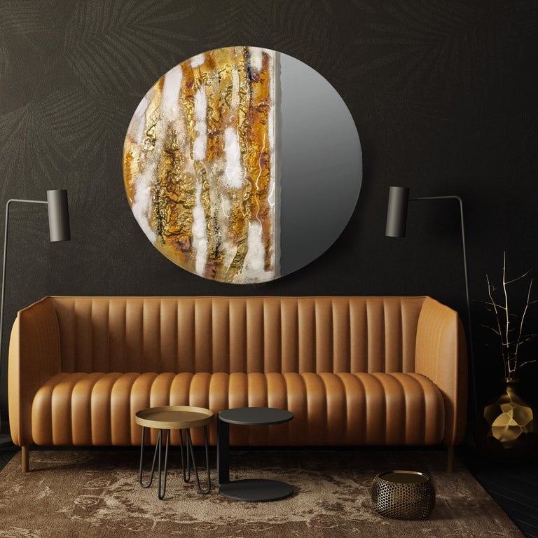 Contemporary and modern round mirror with Murano kind handmade glass colored using metal oxides in white and liquid metal in gold color. Limited collection signed by Edith Baranska showed for the first time in Milan 2019. Each piece is unique and a