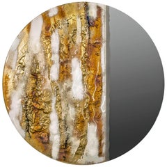Modern Round Mirror Sunrise with Murano Kind Glass in Gold, Brown Metal Oxides