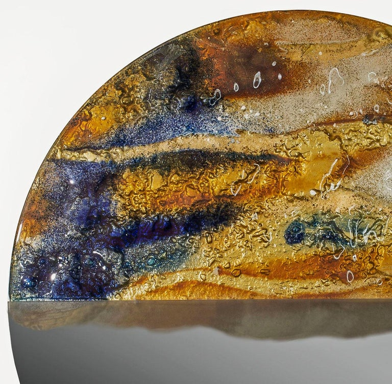 Polish Modern Round Mirror Sunset with Murano Kind Glass in Gold, Cobalt Metal Oxides For Sale