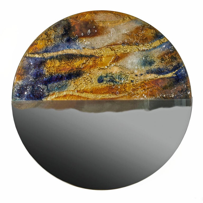 Hand-Crafted Modern Round Mirror Sunset with Murano Kind Glass in Gold, Cobalt Metal Oxides For Sale