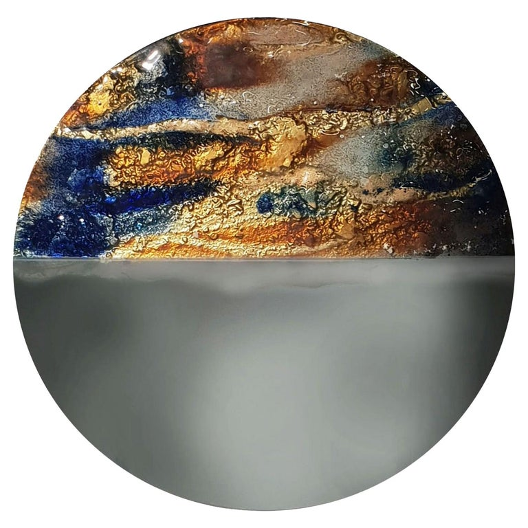 Modern Round Mirror Sunset with Murano Kind Glass in Gold, Cobalt Metal Oxides For Sale