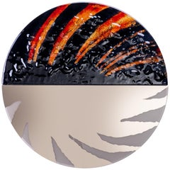 Modern Round Mirror Wild Africa with Murano Kind Glass in Black, Red, White