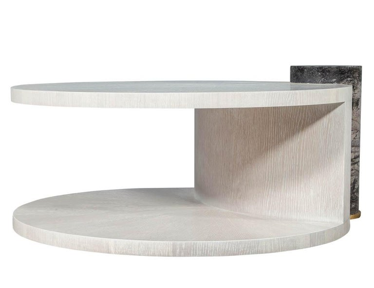 Modern Round Oak Cocktail Coffee Table with Marble Pillar For Sale 5