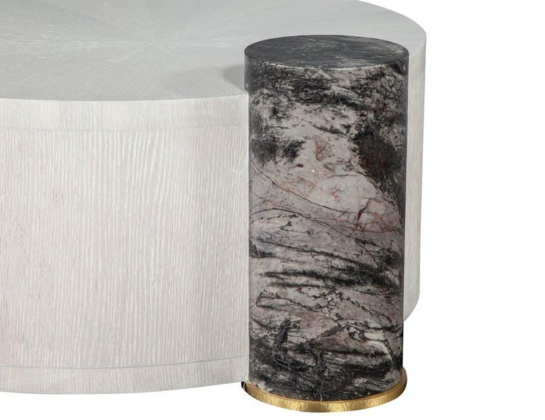 Modern Round Oak Cocktail Coffee Table with Marble Pillar For Sale 6