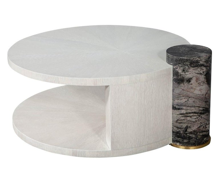 American Modern Round Oak Cocktail Coffee Table with Marble Pillar For Sale