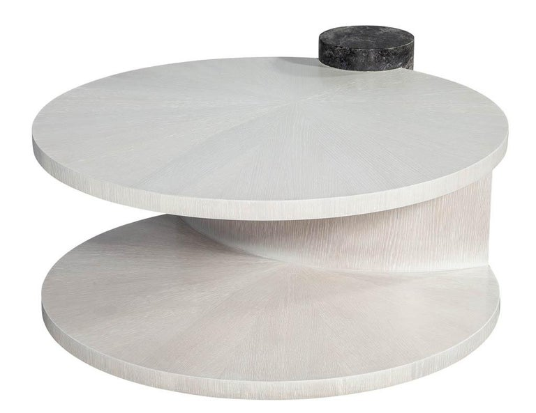 Modern Round Oak Cocktail Coffee Table with Marble Pillar In New Condition For Sale In North York, ON