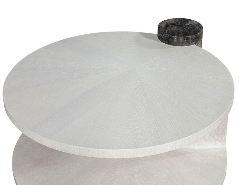 Contemporary Modern Round Oak Cocktail Coffee Table with Marble Pillar For Sale