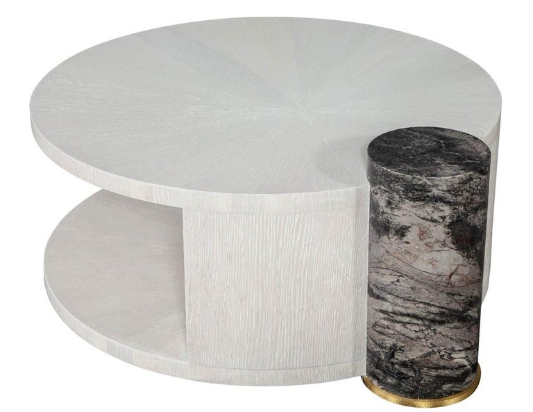 Modern Round Oak Cocktail Coffee Table with Marble Pillar For Sale 1