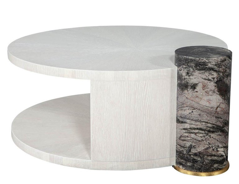 Modern Round Oak Cocktail Coffee Table with Marble Pillar For Sale 2