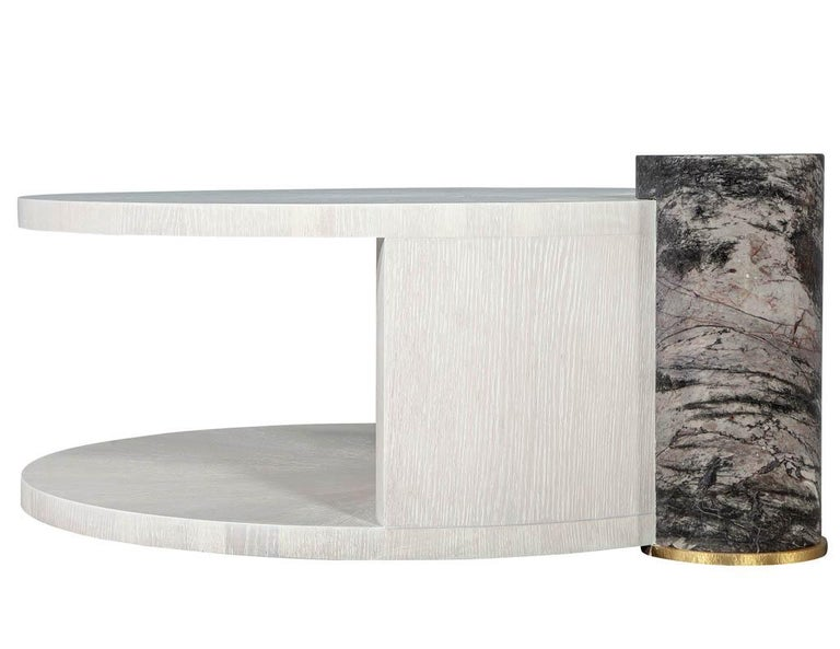 Modern Round Oak Cocktail Coffee Table with Marble Pillar For Sale 4