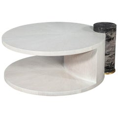 Modern Round Oak Cocktail Coffee Table with Marble Pillar