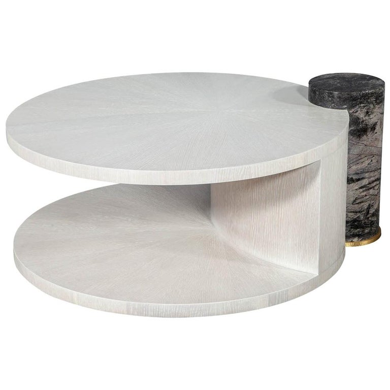 Modern Round Oak Cocktail Coffee Table with Marble Pillar For Sale