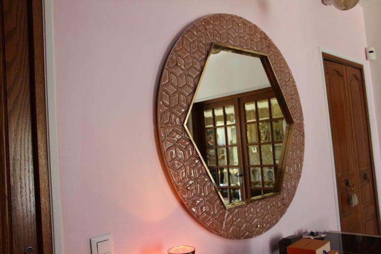 Modern Round Pink Textured Murano Glass Surround Mirror For Sale 4