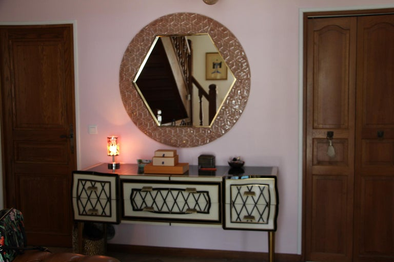 Modern Round Pink Textured Murano Glass Surround Mirror For Sale 6