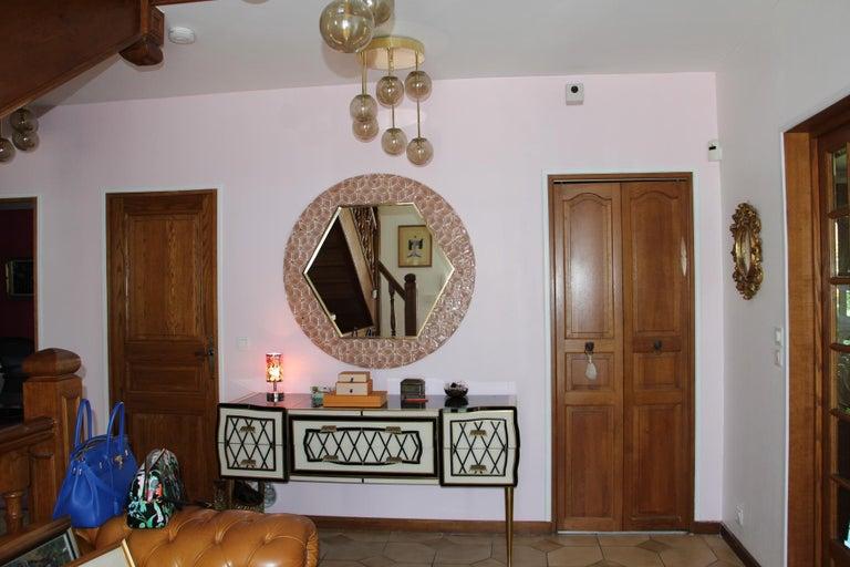 Modern Round Pink Textured Murano Glass Surround Mirror For Sale 7