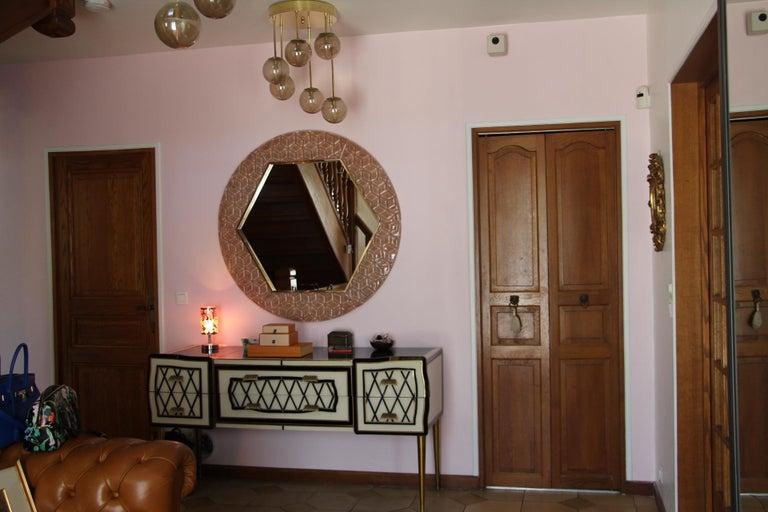 Modern Round Pink Textured Murano Glass Surround Mirror For Sale 8