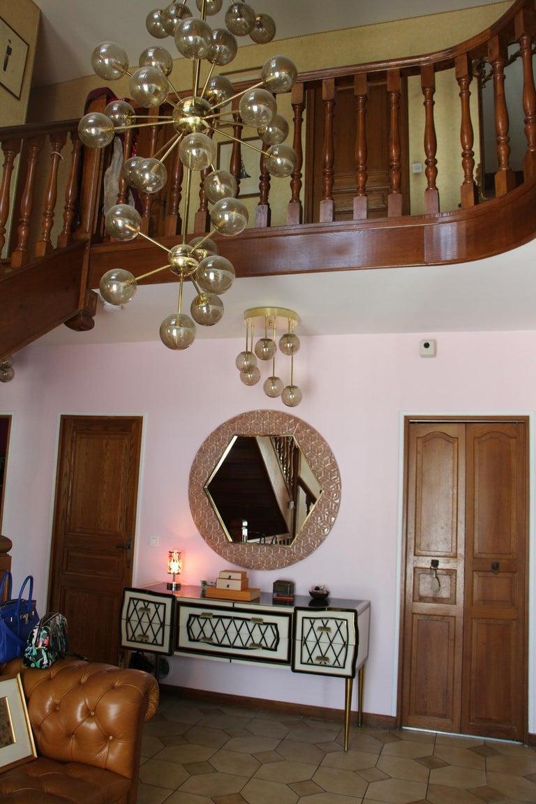 Modern Round Pink Textured Murano Glass Surround Mirror For Sale 9