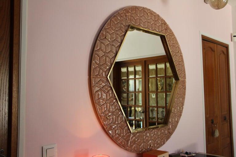 Mid-Century Modern Modern Round Pink Textured Murano Glass Surround Mirror For Sale