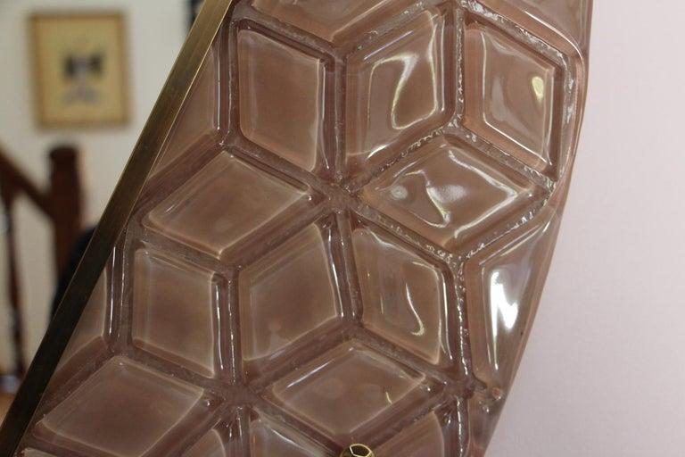Italian Modern Round Pink Textured Murano Glass Surround Mirror For Sale
