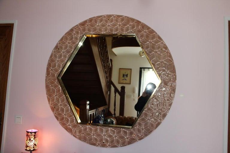 20th Century Modern Round Pink Textured Murano Glass Surround Mirror For Sale