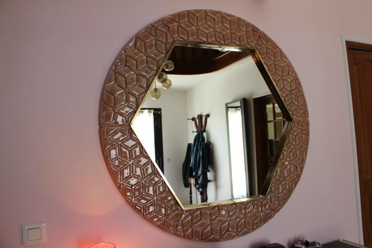 Modern Round Pink Textured Murano Glass Surround Mirror For Sale 1