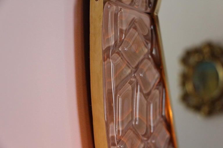 Modern Round Pink Textured Murano Glass Surround Mirror For Sale 3