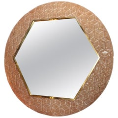 Modern Round Pink Textured Murano Glass Surround Mirror