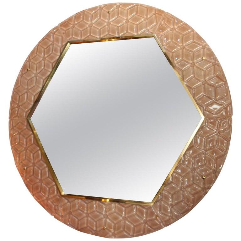 Modern Round Pink Textured Murano Glass Surround Mirror For Sale