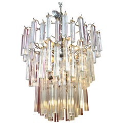 Modern Round Tiered Crystal and Chrome Chandelier