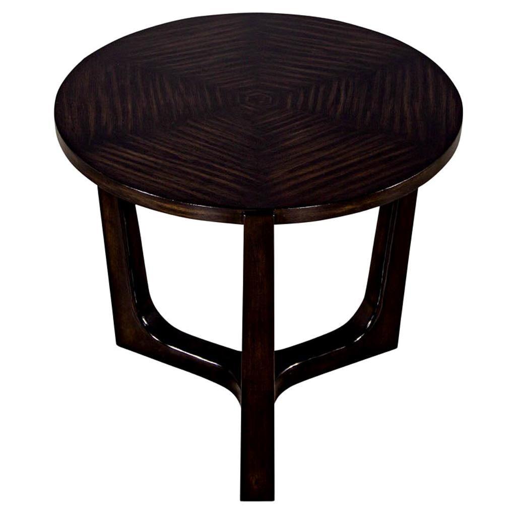 Modern Round Walnut Side Table with Geometric Inlay