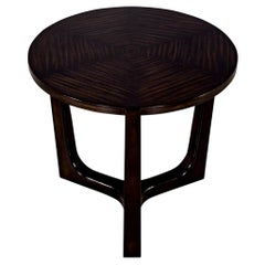 Modern Round Walnut Side Table with Geometric Inlay