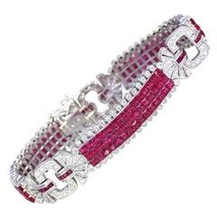 Modern Rubies Diamonds Bracelet Invisible Set, 2000