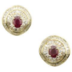 Modern Ruby and Diamond Earrings in 18k Yellow Gold