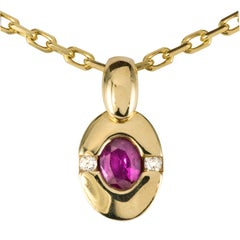 Modern Ruby Diamond 18 Karat Yellow Gold Pendant and Chain
