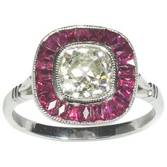 Modern Ruby Diamond and Platinum Cluster Ring