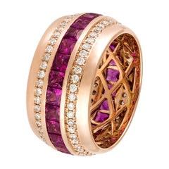 Modern Ruby Diamond Rose Gold 18K Band Ring for Her