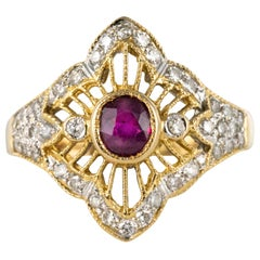 Modern Ruby Diamonds 18 Karat Yellow Gold Lace Ring