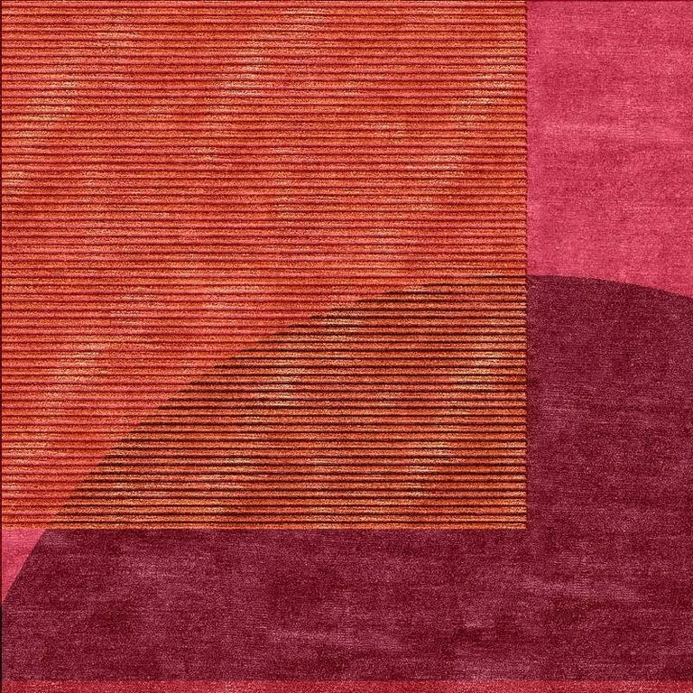 A beautiful new and made to order Bauhaus design inspired carpet, hand knotted using finest Chinese mulberry silk and Tibetan Highland Wool. The design features typical elements such as squares, circles layering on each other. Construction This
