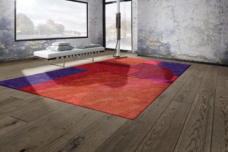 Contemporary Modern Rug Bauhaus Style Erased Design Wool, Silk Hand Knotted For Sale