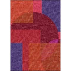 Modern Rug Bauhaus Style Erased Design Wool, Silk Hand Knotted