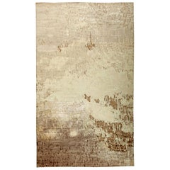 Modern Abstract Brown & Beige Hand-knotted Silk Rug