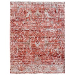 Modern Rug Hand Knotted in Style of Heriz Serapi or Antique Sultanabad