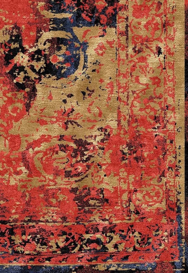 Modern Rug Hand Knotted Tabriz Style Erased Design Wool, Silk, in Black Reds  For Sale 6
