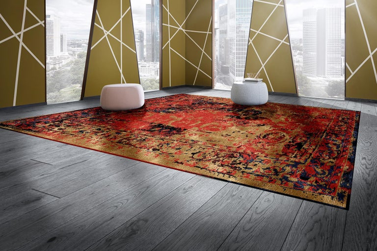 A beautiful contemporary design carpet, made to order, hand knotted using finest Chinese mulberry silk and Tibetan Highland Wool. The design originates in traditional Persian Tabriz Carpets featuring a Classic center Medaillon, floral motives in the