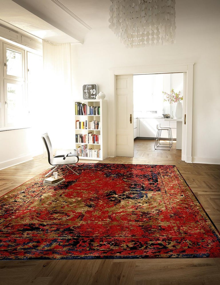 Hand-Knotted Modern Rug Hand Knotted Tabriz Style Erased Design Wool, Silk, in Black Reds  For Sale