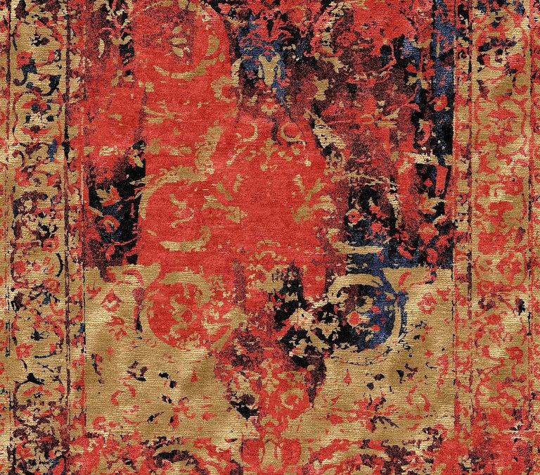 Modern Rug Hand Knotted Tabriz Style Erased Design Wool, Silk, in Black Reds  For Sale 1