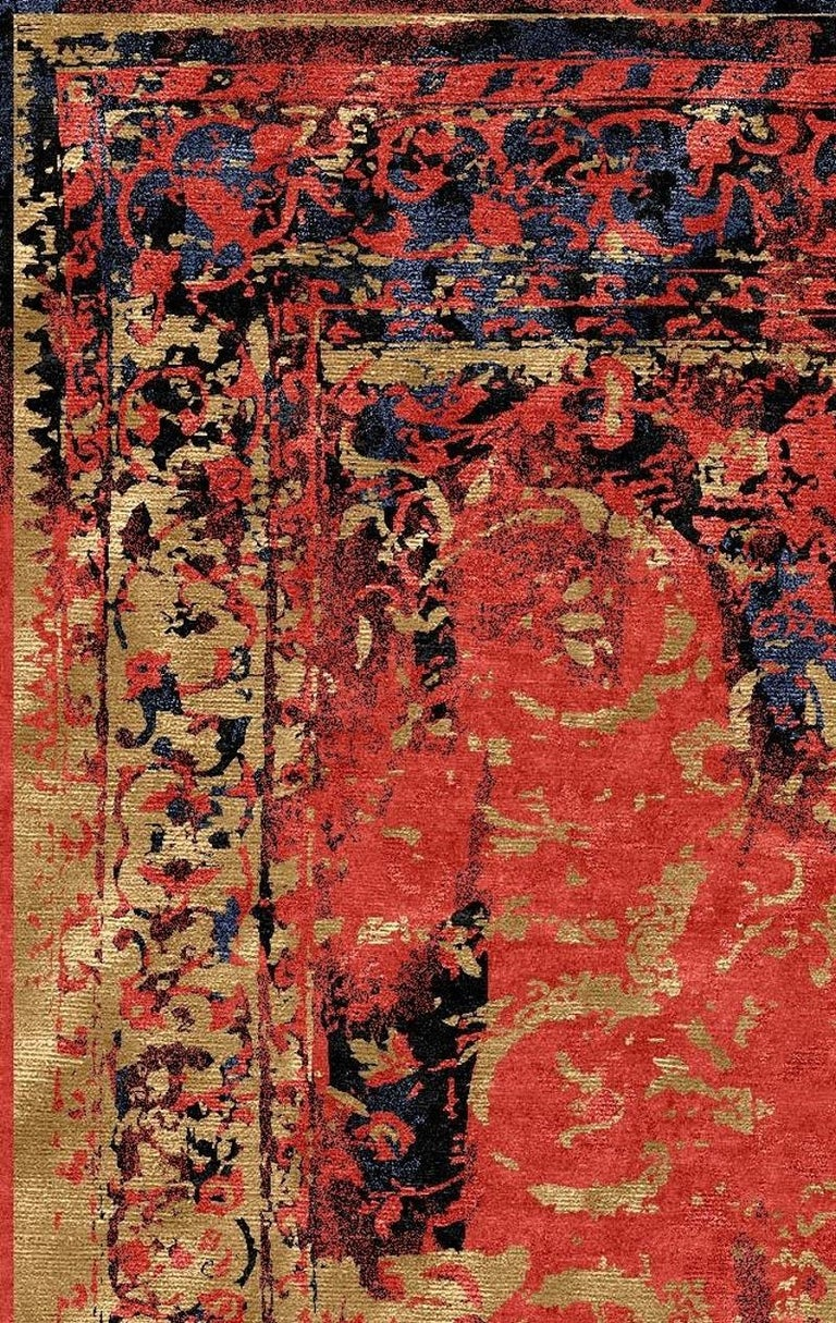 Modern Rug Hand Knotted Tabriz Style Erased Design Wool, Silk, in Black Reds  For Sale 2