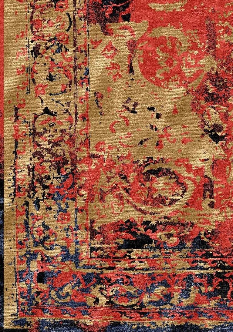 Modern Rug Hand Knotted Tabriz Style Erased Design Wool, Silk, in Black Reds  For Sale 3